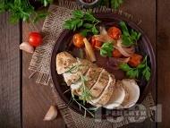 Глазирано пилешко филе с зеленчуци на тиган